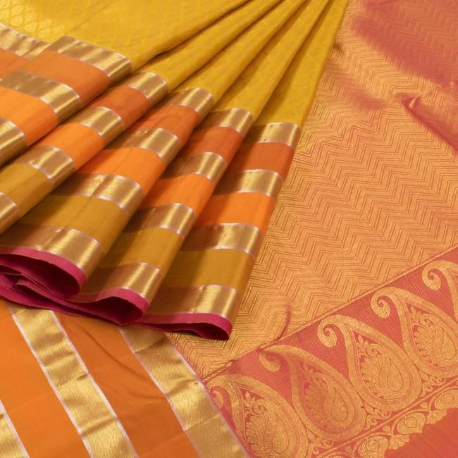 Yellow Jacquard Handwoven Kanjivaram Silk Saree With Multi Colour Border 10007719 - AVISHYA.COM