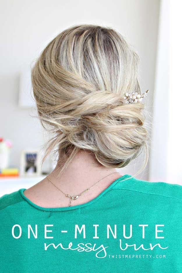 Quick And Easy Hairstyles For School : Best Summer Hairstyles – One-Minute Messy Bun Tutorial – Easy And Beautiful Shor