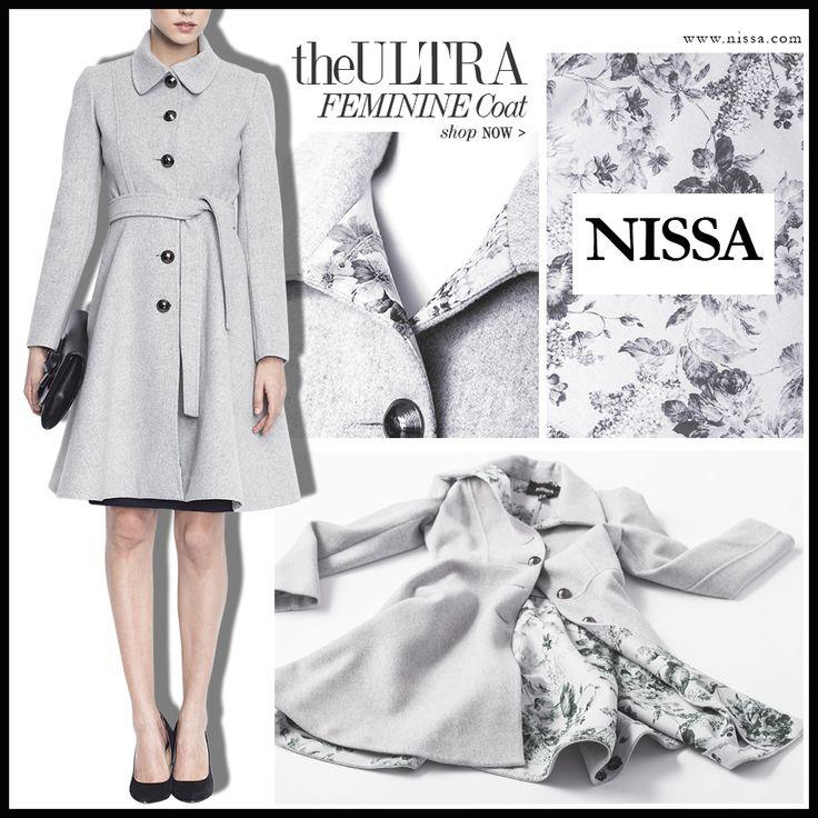 The Ultra Feminine Coat  http://goo.gl/Gbstxo  #nissa #coat #ultra #feminine #fashion #style #stylish #flowers #floral #bloom #redingota #gri #jacket