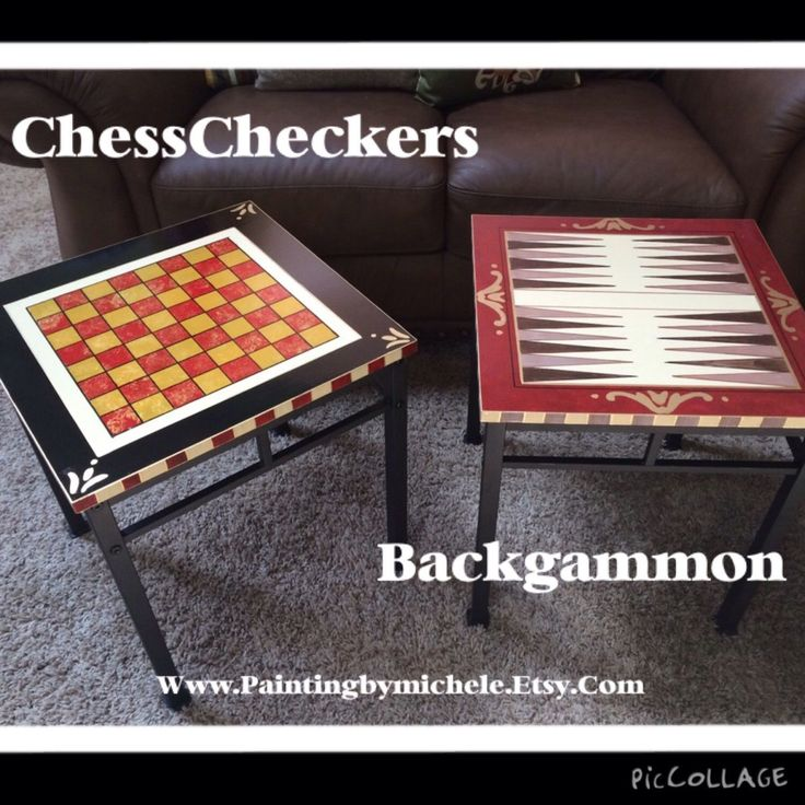Custom Made Painted Game Table Chess Checkers Backgammon// Whimsical Painted Furniture