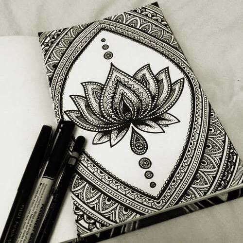 amazing, art, black and white, drawing, flor, lotus flower, mandala