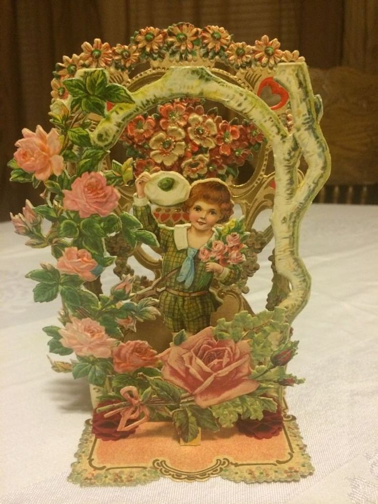 Antique Victorian 3D Pop Up Valentines Day Card Ornate