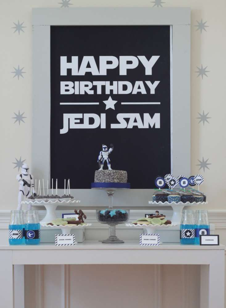 Modern party table at a Star Wars birthday party! See more party planning ideas at CatchMyParty.com!