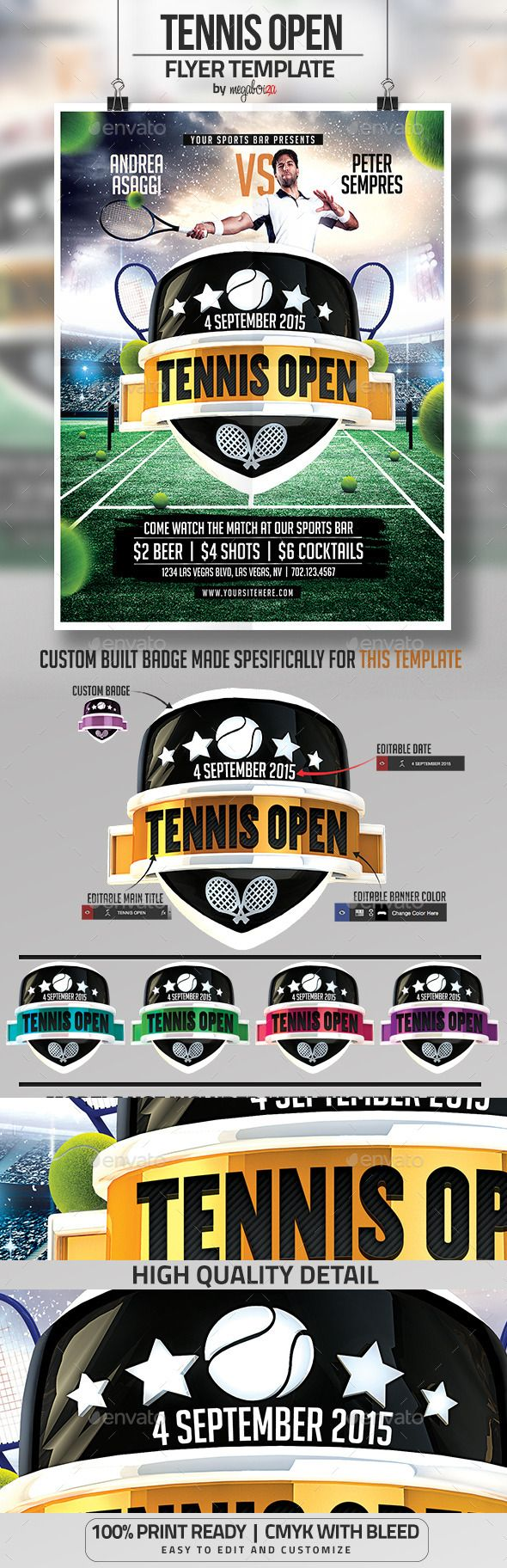 Tennis Open Flyer / Poster Template by megaboiza This is a great flyer template to promote tennis matches at your sports bar. It is easy to edit and will have you on your way to a