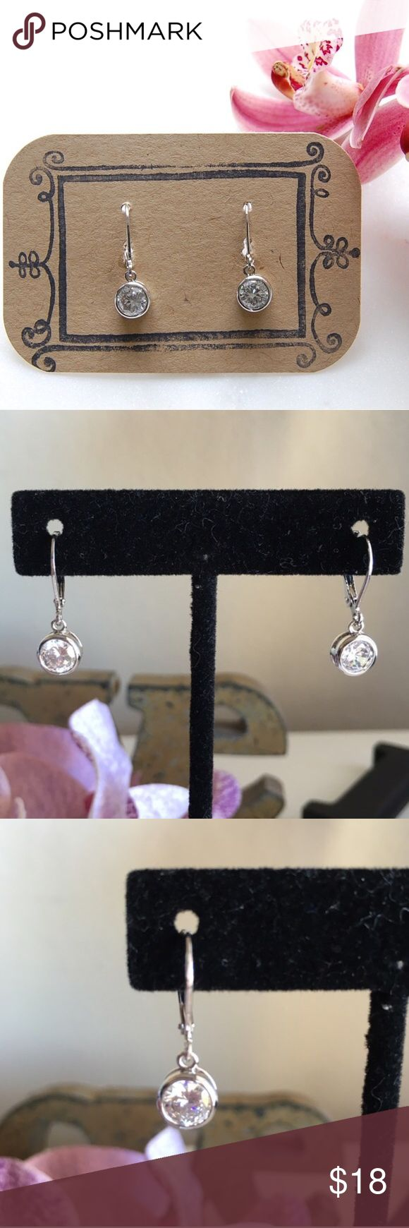 BOGO 50% OFF! Dangling CZ Earrings | Bezel Setting Simple and classic cubic zirconia earrings in a bezel setting. 1 karat CZs hang almost an inch long. Includes box. Price firm unless bundled. {E3312}   Instagram: @bringingupsuns Jewelry Earrings
