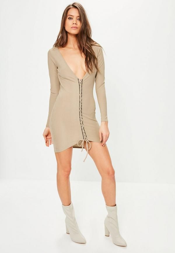 get some new and refresh your evening game wearing this camel bodycon dress - featuring a bardot style top, lace up details and ribbed design.