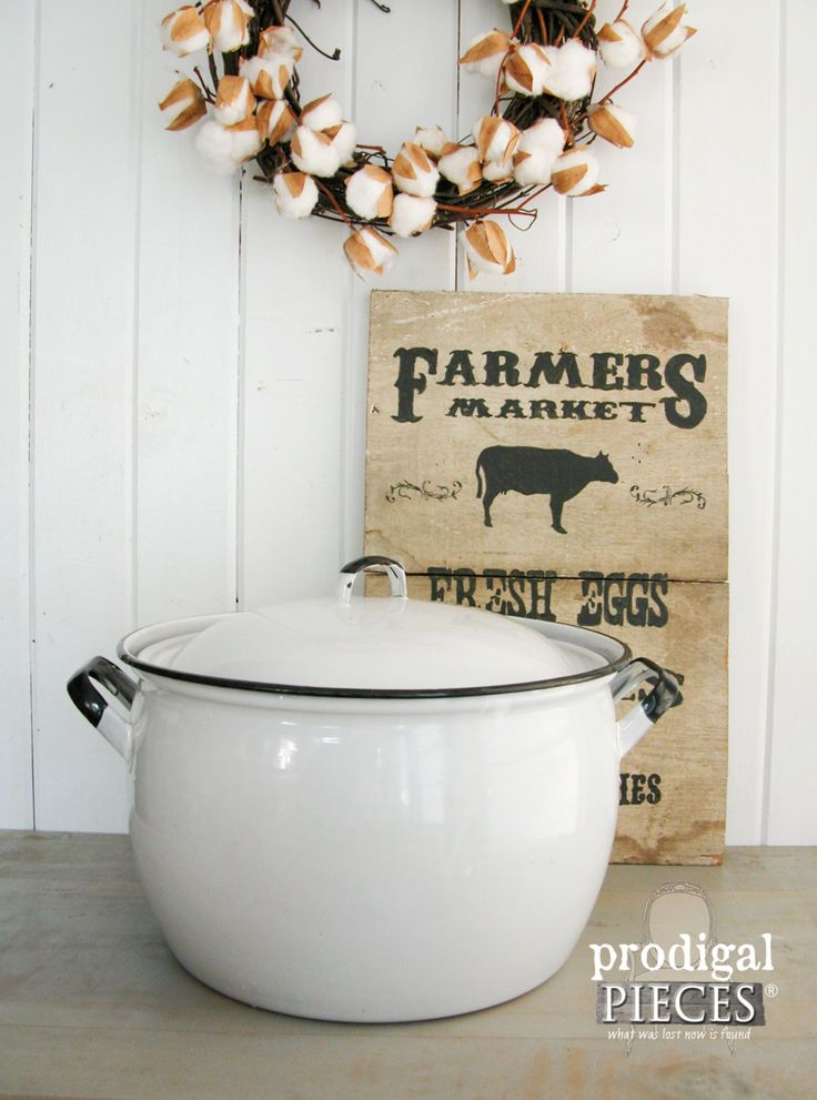 Antique Vintage Enamelware Stock Soup Pot ~ Extra Large White with Black Trim ~ Farmhouse Style by Prodigal Pieces on Etsy. www.prodigalpieces.com