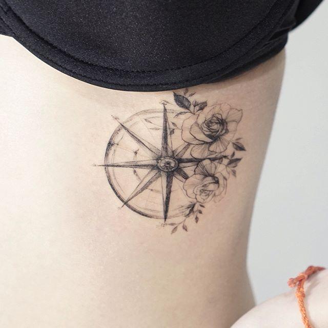 Compass Rose # tattoo # tattooed # tattooing # tattoowork # flower # flowertattoo # compass # rosetattoo # Tattoo # Compass # Compass # Tattoos