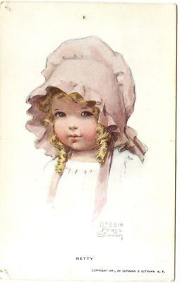 """Betty"" (1911), a young girl wearing a pink bonnet, by American artist - Bessie Pease Gutmann (1876-1960)"