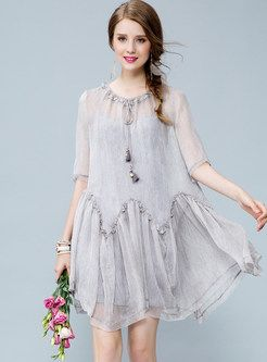 Sweet Silk Pure Color Loose Short Sleeve Shift Dress With Underskirt