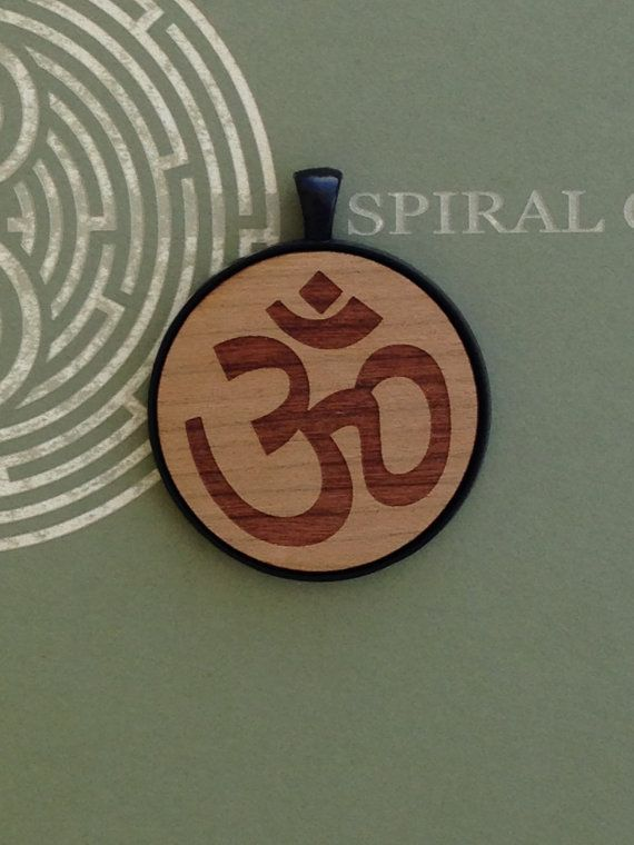 Om Symbol  Laser Engraved Wood Pendant Necklace by SpiralCutStudio