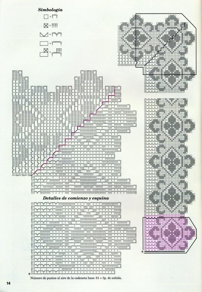 3987 fantastiche immagini su Crochet su Pinterest  Tovaglie, Schemi uncinetto filet e Filet all ...