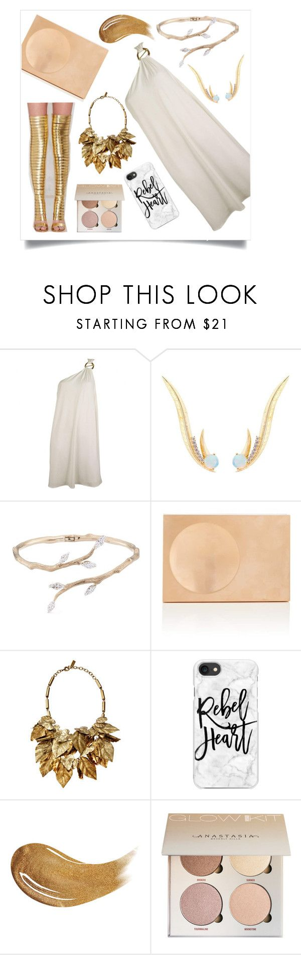 """""""golden godes"""" by hschommer on Polyvore featuring Jeffrey Campbell, Elie Tahari, Daou, Anyallerie, Lee Savage, Etro, Casetify and Too Faced Cosmetics"""