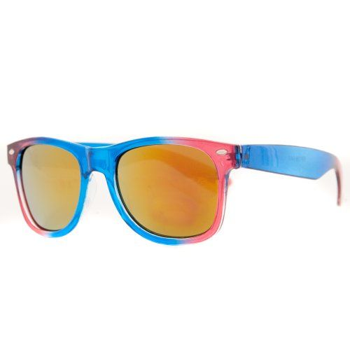 Dual Semi-Transparent Colour Wayfarer Sunglasses with Mirrored Colour Lenses available in a selection of colours