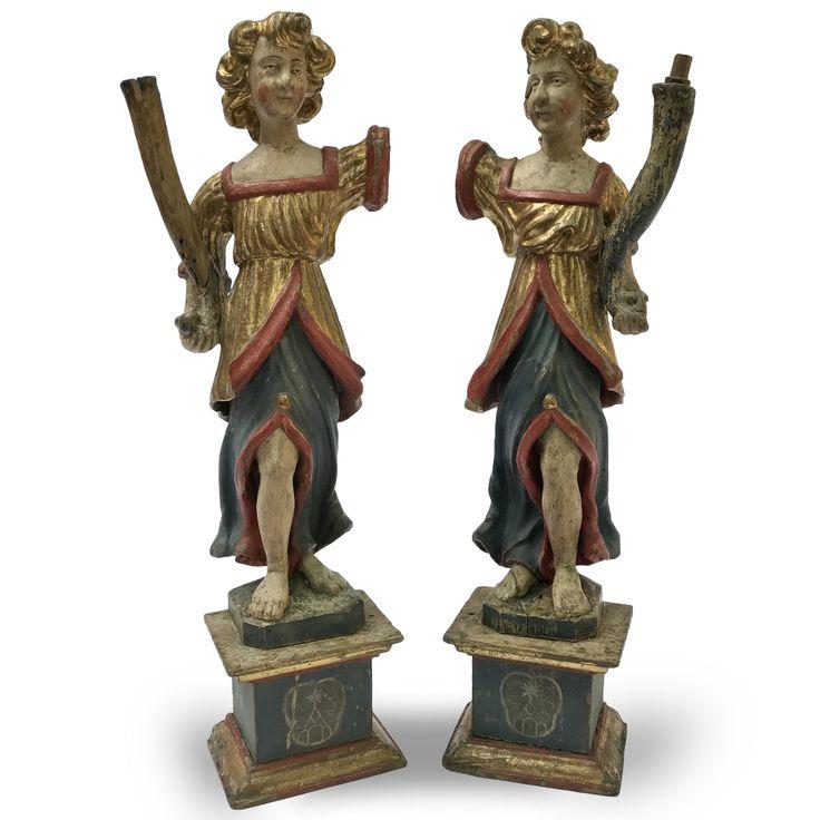 Coppia di Sculture Cornucopie del 1600 in legno laccato e dorato - Periodo: 1600