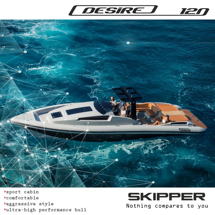 SKIPPER Desire 120s :  Speed and consumption measurements: The first RIB test, gave us the following measurements with a pair of Yanmar 8LV 370R: Consumption 2 liters per mile with a speed of 30 knots Consumption of 2.5 liters per mile with a speed of 40 knots  Design by Alexandros Stavroulakis  Pavlos Stavroulakis George Stavroulakis  Charis Merkatis Marketing & Sales Www.skipper-bsk.com - merkatis@skipper-bsk.com