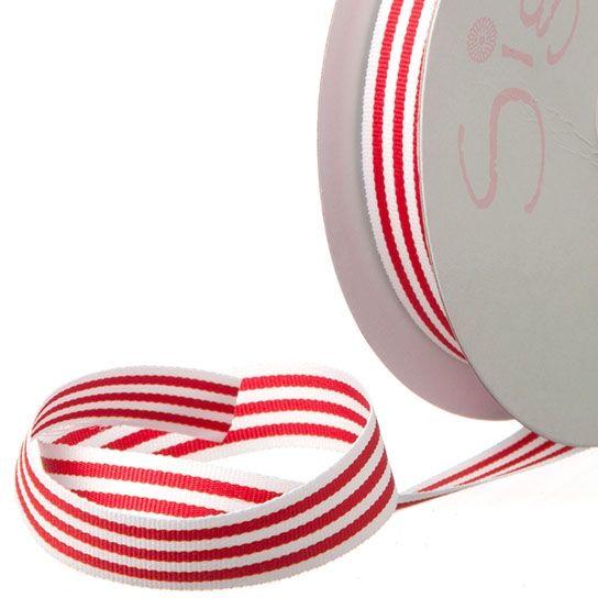 Red Stripe Grosgrain Ribbon (20m)