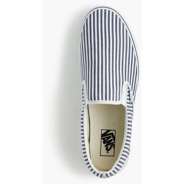 Vans® for J.Crew slip-on sneakers in seersucker stripe ($60) ❤ liked on Polyvore featuring shoes, sneakers, men shoes, striped shoes, summer shoes, slip on shoes, slip on trainers and summer footwear