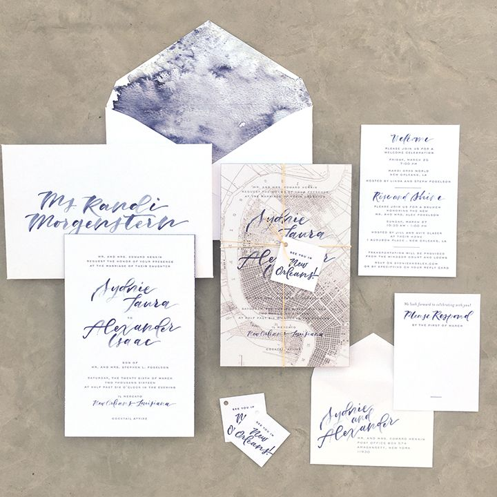 Letterpress New Orleans Destination Wedding Invitation Suite w/ Watercolor, Map Overlay, Custom Converted Envelope and Painted Edges.