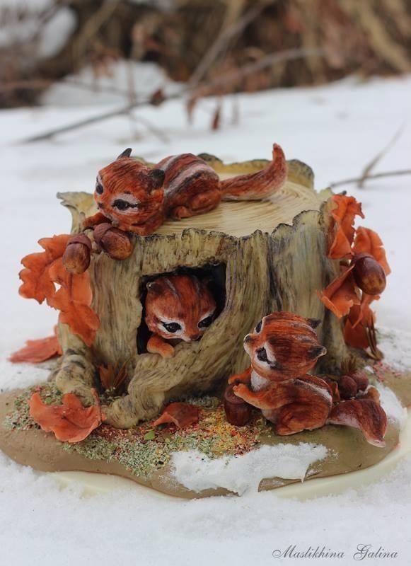 Chipmunks on an old stump by Galina Maslikhina