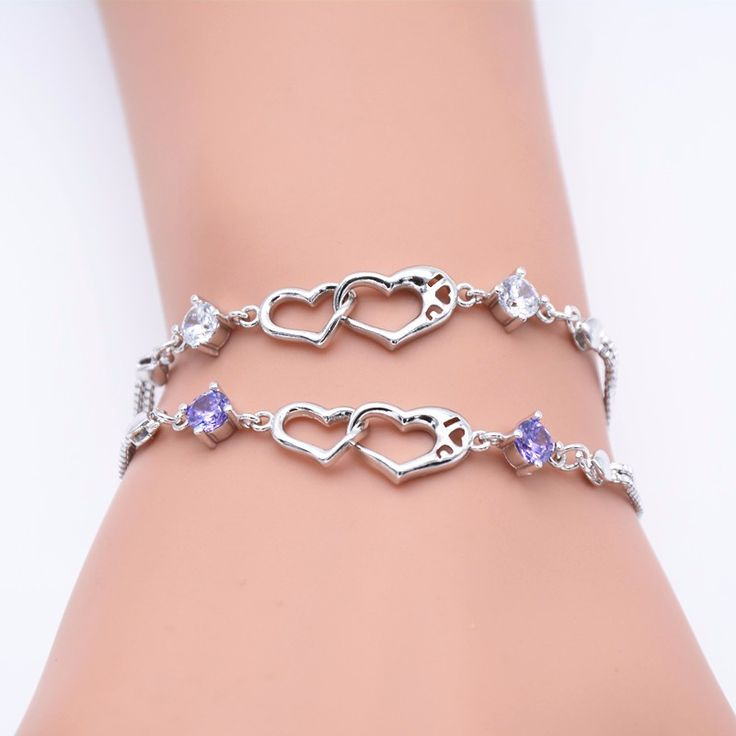 Wholesale Silver Plated Jewelry Bracelets Fashion For Women Lady Girl Crystal Love Heart Charm Chain Bracelet-in Chain & Link Bracelets from Jewelry & Accessories on Aliexpress.com | Alibaba Group