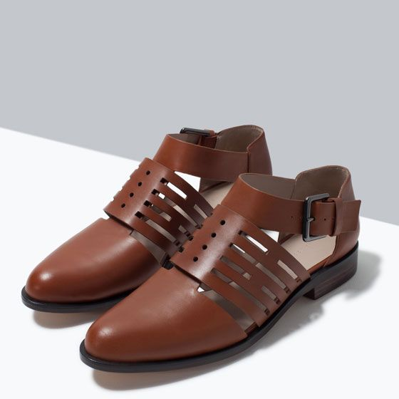 Image 5 of FLAT LEATHER CUT-OUT SHOES from Zara