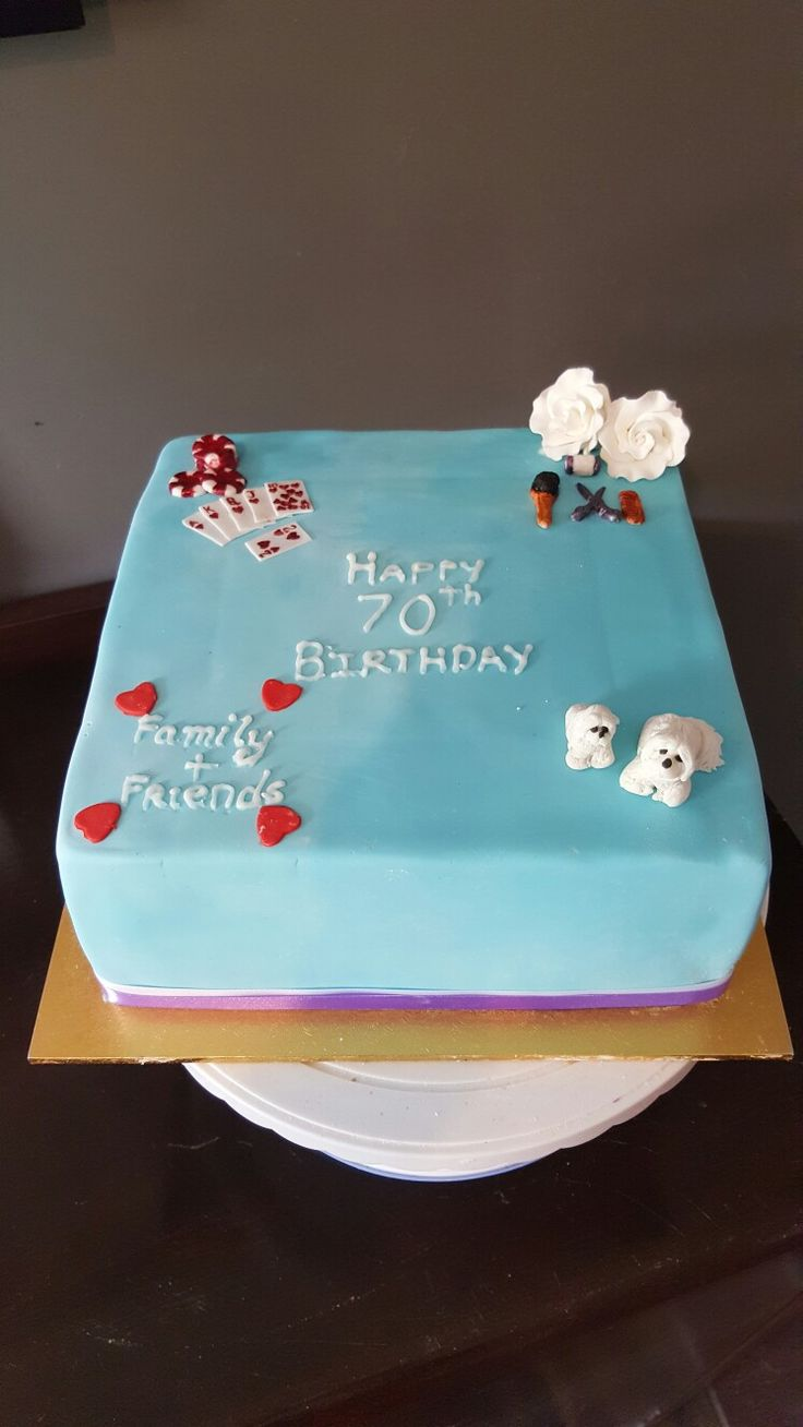 Favorite things, Poker chips, playing cards, hairdressing, shih-tzu's, flowers, family and friends cake.