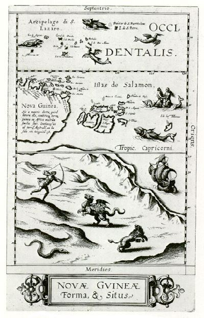 The mostly-imagined coastline of Australia, one of the earliest speculations on the place, ca. 1593