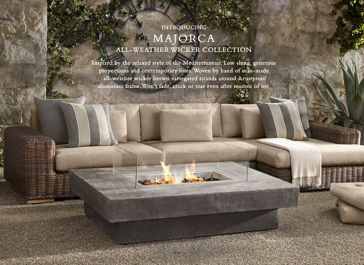 This would be the perfect couch for my living room! Deep seated and cozy!Fire Pits, Restoration Hardware, Outdoor Living, Outdoor Fire Pit, Outdoor Fireplaces, Outdoor Spaces, Firepit, Fire Pit Table, Fire Table