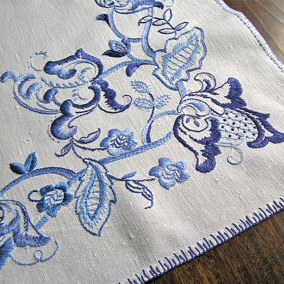 Vintage tablecloth embroidery satinstitch 1970s by MyWealth, $15.00