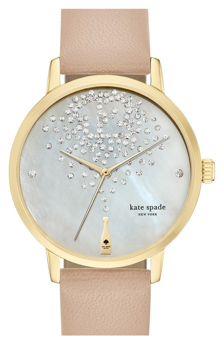 Glitz, glam and champagne. How could this kate spade new york 'metro' leather strap watch be any better?