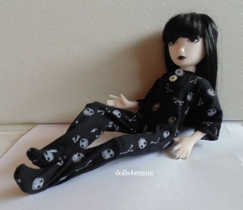 EMILY THE STRANGE Doll Clothes Handmade PAJAMAS GOTH Jack Skellington Nightmare Before Christmas $15.00 on ebay - by DOLLS4EMMA