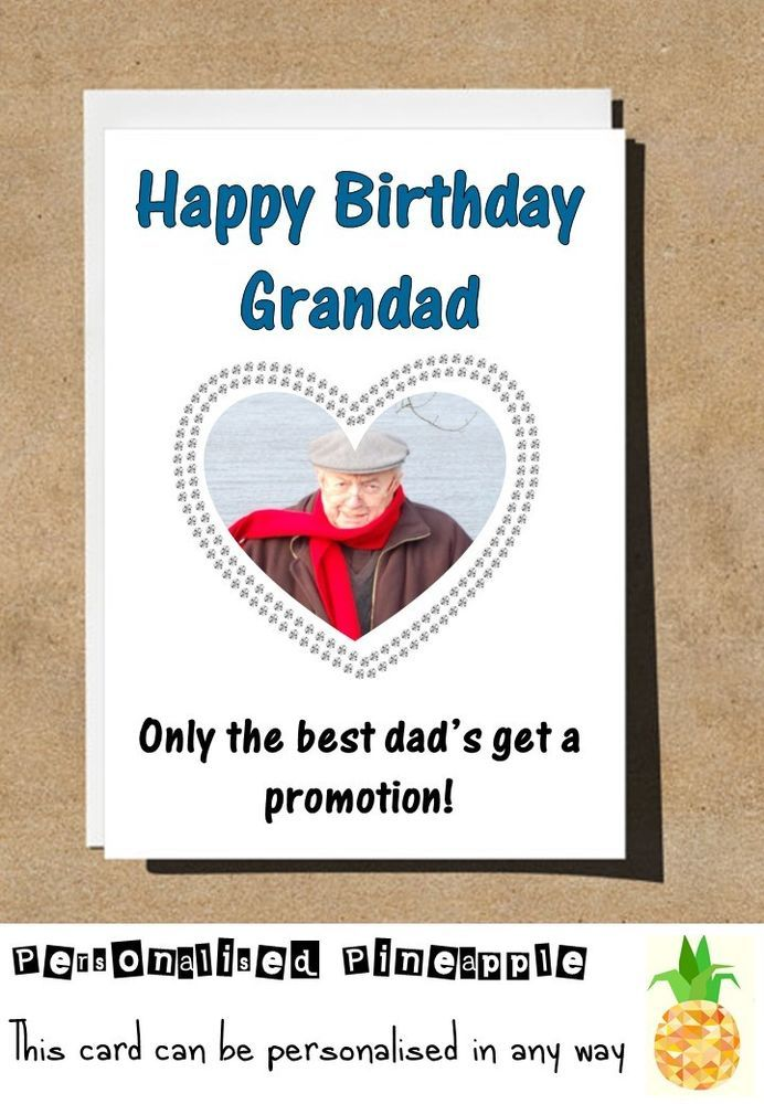 GRANDAD DAD PROMOTION BIRTHDAY CARD FUNNY HUMOUR PERSONALISED PHOTO NAME AGE