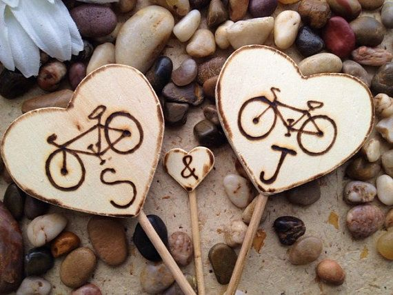 Bicycle Cake Toppers Personalized with Initials by PrinceWhitaker, $34.99