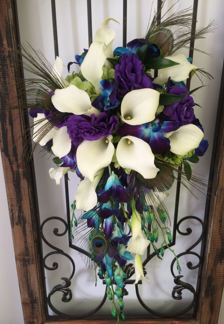 Peacock feathers accent this cascade with teal orchids and white mini calla lilies