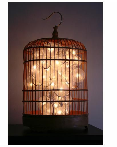 Go wireless and use a string of LED lights to illuminate your newly repurposed vintage birdcage, like ZuZuPetals.  You can use rubber bands or clips to create the shape you desire for the light sculpture inside the birdcage.