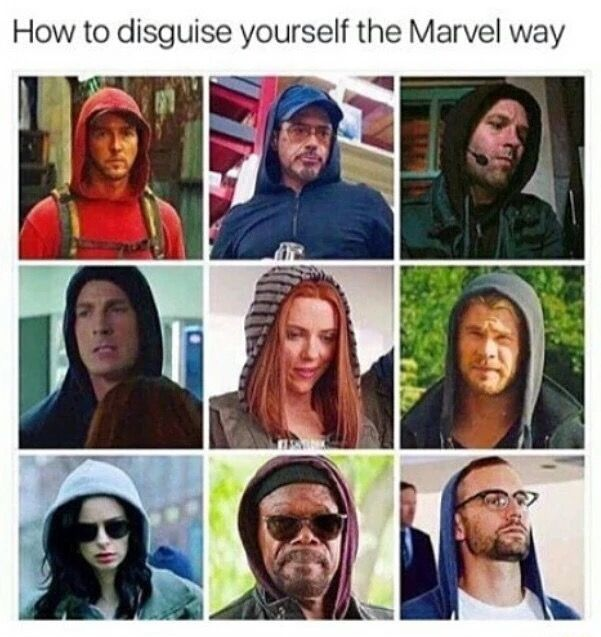 Disguises in the MCU. All you need is a hoody!( Cap and glasses if you're feeling adventurous)