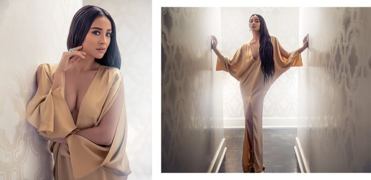 Shay Mitchell shines in Ralph Lauren Collection dress