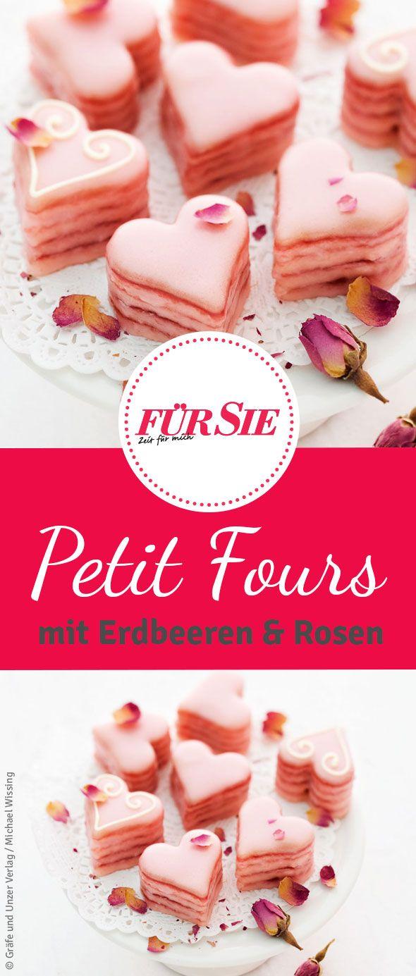 Petit Fours: Es ist wieder soweit - der Valentinstag steht vor der Tür! Bei uns findet ihr ein süßes Rezept für Petit Four mit Erdbeeren und Rosenblüten in Herzform.