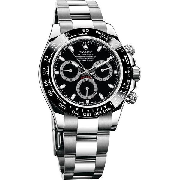 Rolex Cosmograph Daytona Black Dial Stainless Steel Oyster Men's Watch... ❤ liked on Polyvore featuring men's fashion, men's jewelry, men's watches, mens watches, mens watches jewelry, mens stainless steel watches, rolex mens watches and mens black face watches