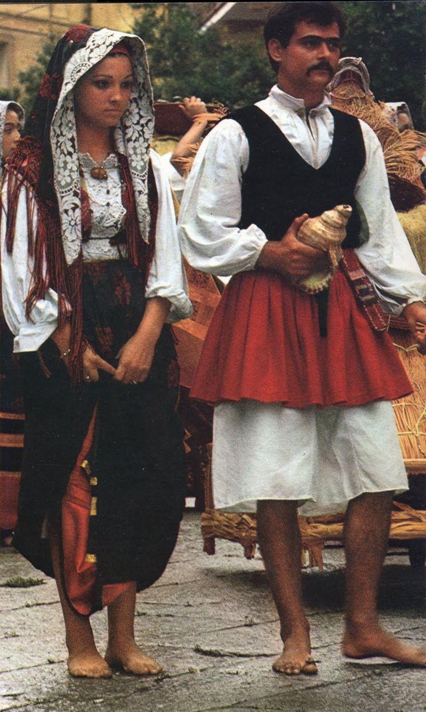 Folk costumes of Cabras, Sardinia, Italy