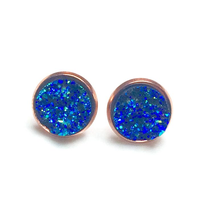 Blue and Rose Gold Druzy earrings - Rose Gold 8 or 12 mm - Faux Druzy Earrings - bridesmaid gift idea - Gold earrings Canada - Druzy stud by AnisasClayCreations on Etsy https://www.etsy.com/ca/listing/561401356/blue-and-rose-gold-druzy-earrings-rose