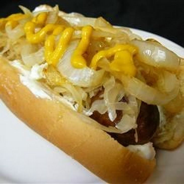Seattle Cream Cheese Dogs Recipe Lunch and Snacks, Main Dishes with butter, sweet onion, cream cheese, hot dogs, hot dog bun, brown mustard, sauerkraut