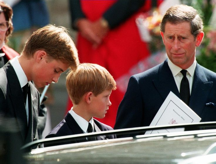 William, Harry, and Charles waited in front of Westminter Abbey.              Image Source: Getty / JOEL RO...