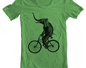 Elephant on a bIke? What is this?  AMerican Apparel Unisex T shirt - only available at    www.etsy.com/shop/FullSpectrumClothing