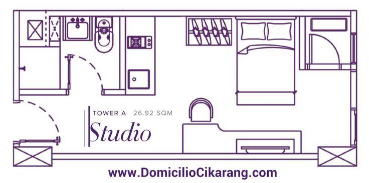Denah unit Studio Type Domicilio Cikarang Apartment