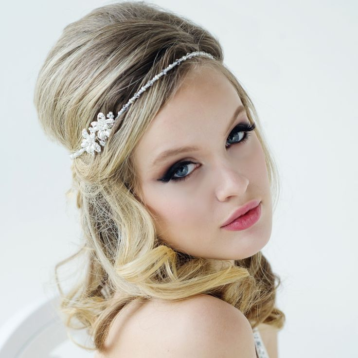 Larissa Beaded ivory headpiece in a vintage inspired design. Embellished with high quality cz crystals and freshwater pearls. Can be worn as a browband or hairband.
