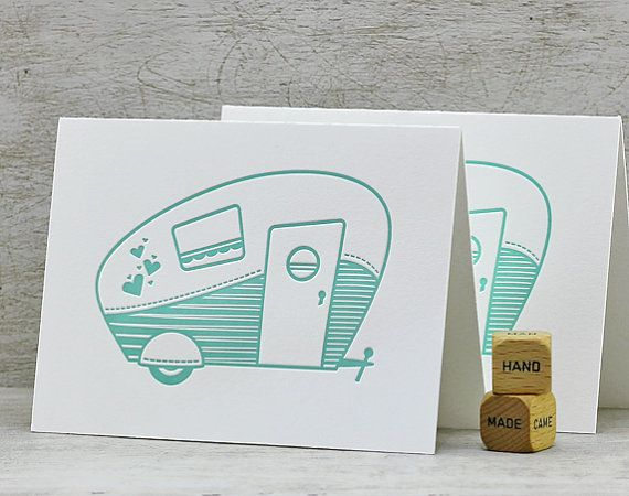fabulous retro camper letterpress folded note card set by