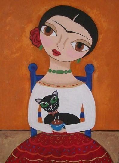Coffee Time Frida Kahlo Folk Art Painting