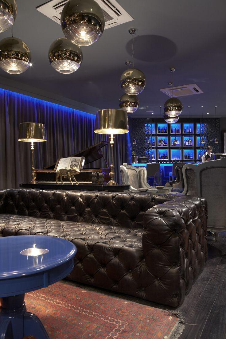 Boutique hotel | Lounge | Chesterfield | Bar | Blue | Dark grey interior | Etienne Hanekom Interiors